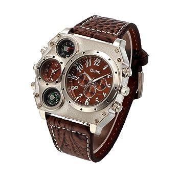 Oulm New style Analog Dark Brown Leather Strap Four Sub-dials Men Quatrz Watch
