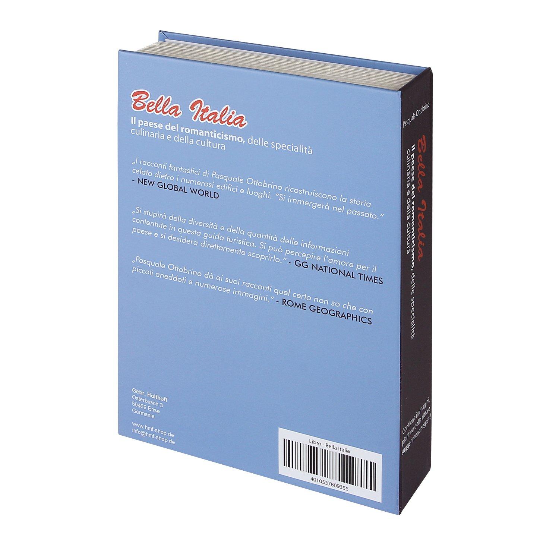 23 x 15 x 4 cm getarnte Geldkassette Beschriftung in Italienisch echte Papierseiten Bella Italia HMF 80935 Buchtresor