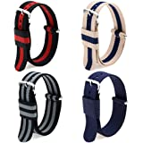 4pc 20mm Nato Ss Nylon Striped Blue ,Blue/coffee,black/grey,black/red Replacement Watch Strap Band