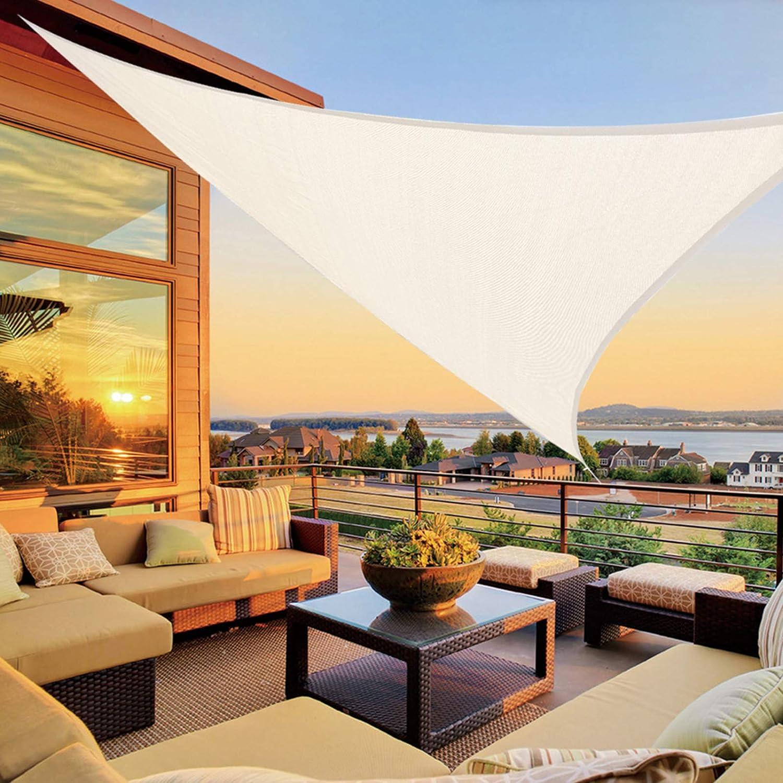 LOVE STORY 16'5'' x 16'5'' x 16'5'' Triangle Beige Sun Shade Sail Canopy UV Block Awning for Outdoor Patio Garden Backyard