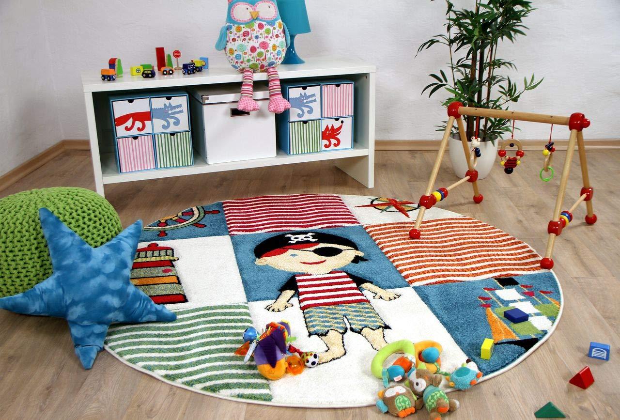 Savona Kinder Teppich Kids Piratenwelt Bunt Rund in 3 Größen