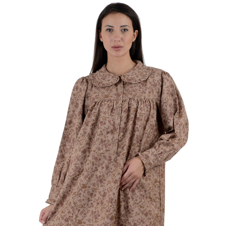 Cotton Lane Printed Ruffled Collar Victorian Vintage Reproduction Nightdress. Sizes UK 8 to 38.