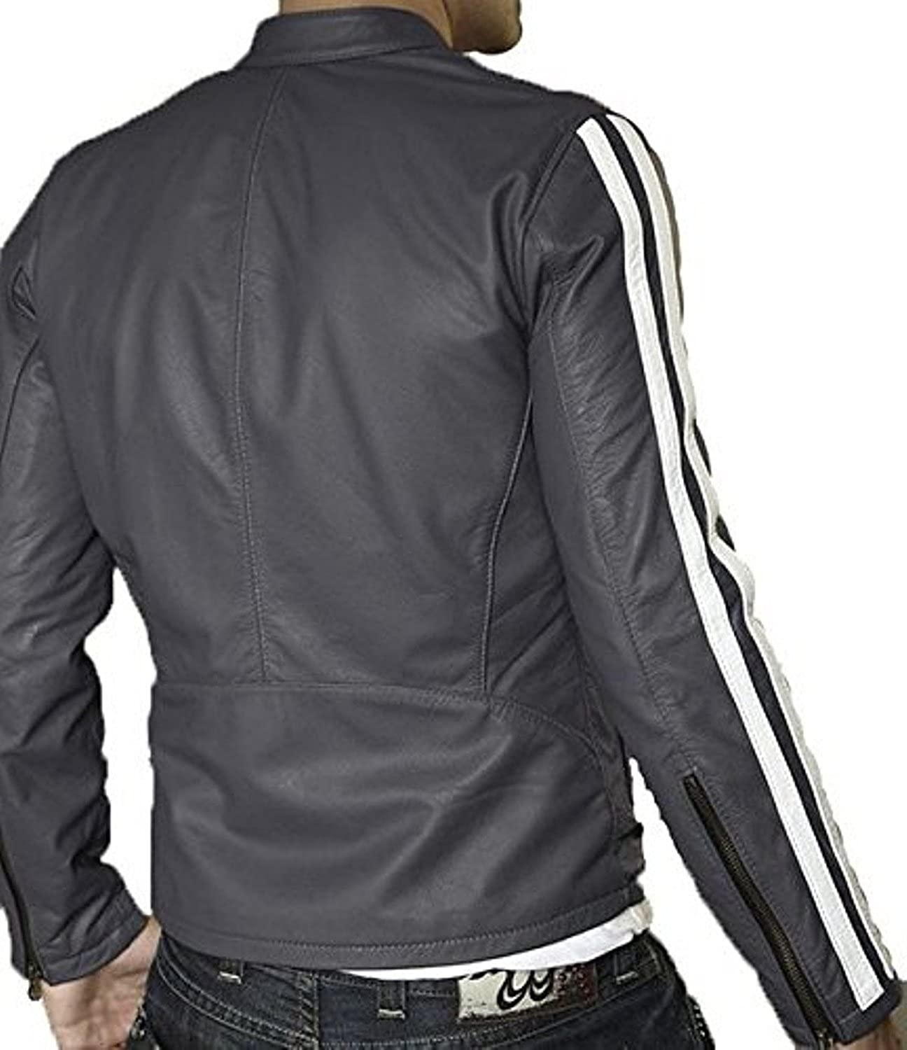 New Men Quilted Leather Jacket Soft Lambskin Biker Bomber T827