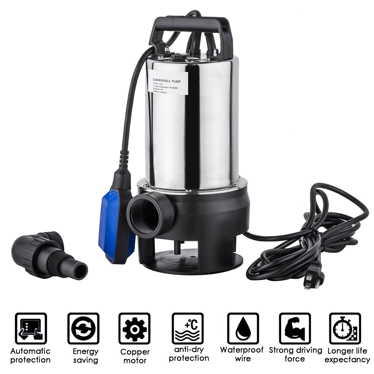 1.5 HP Stainless Steel Clean/Dirty Water Submersible Sump Pump Portable Transfer Water Pump Automatic Shut Off Float Switch with 33 Feet Cable (US Stock)