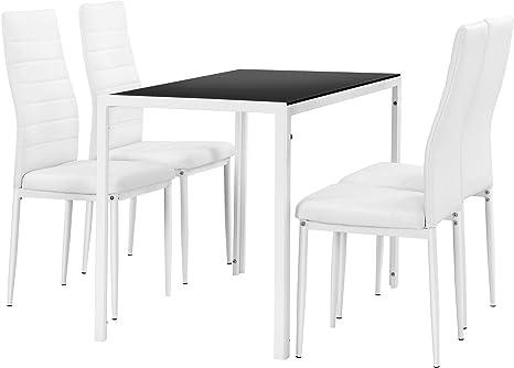 en.casa] Juego de Comedor Moderno Mesa Negra y Blanca + 4 sillas ...