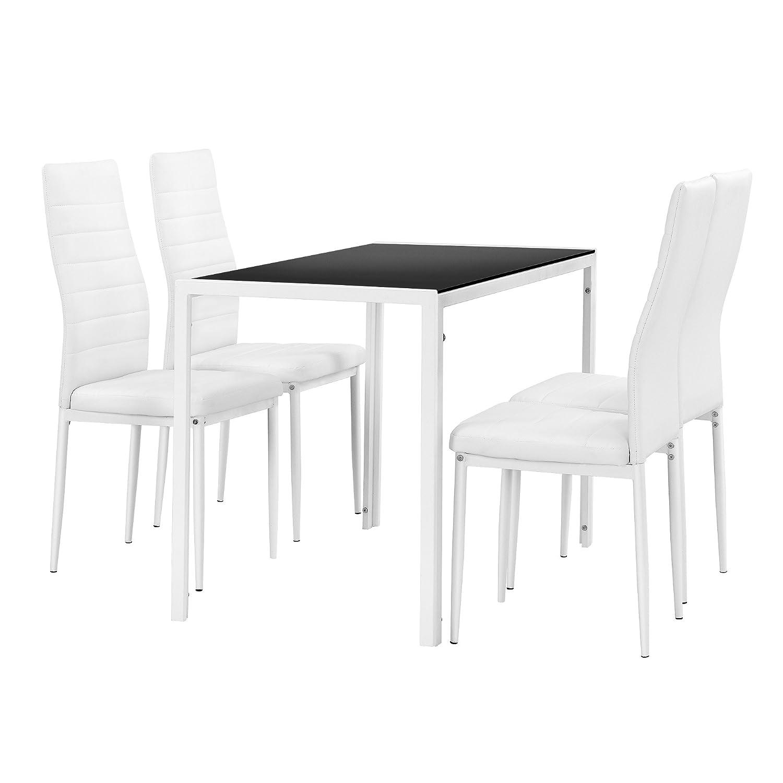 [en.CASA] Table à Manger Noir/Blanc + Kit de chaises en 4 pièces Blanc