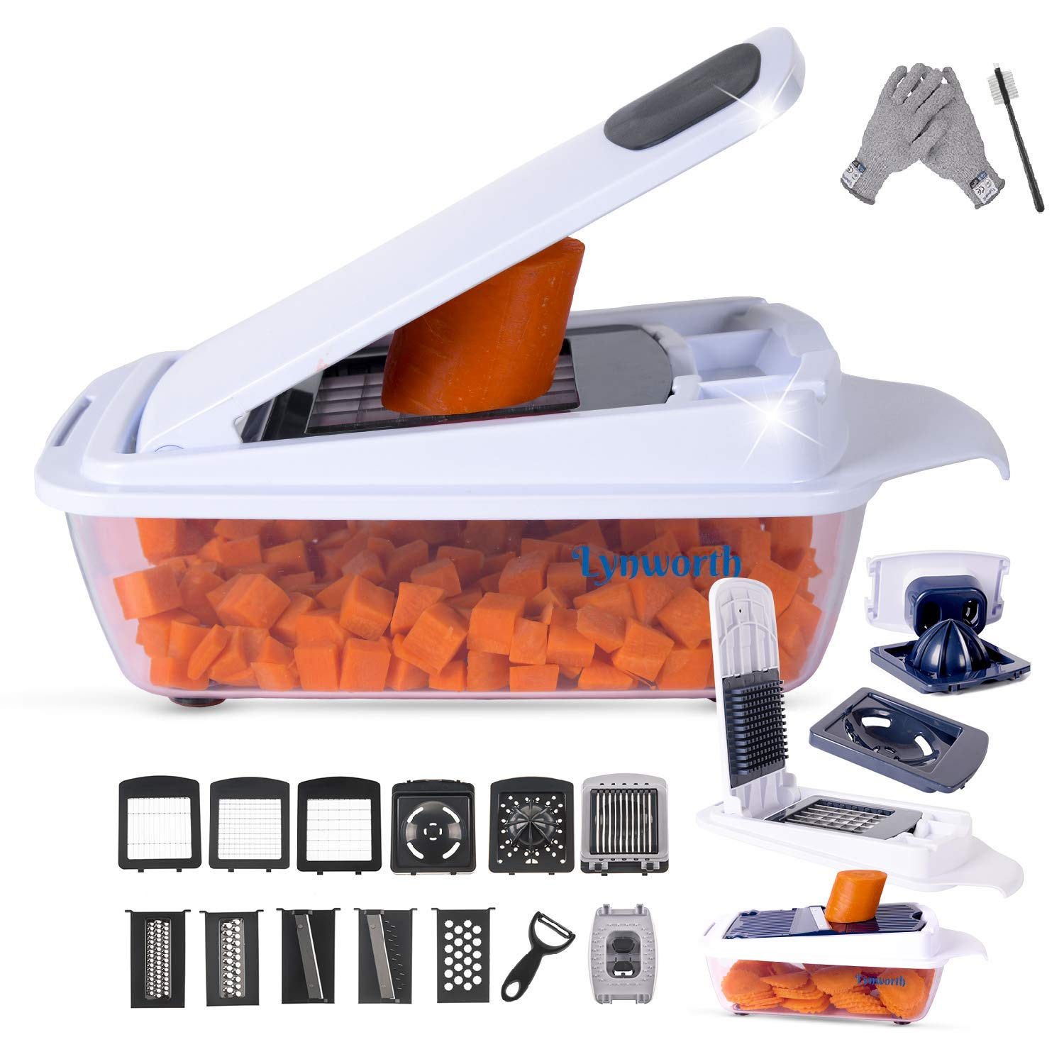 Vegetable Chopper Slicer Dicer Cutter Peeler Cheese Grater. 12-in-1 (22 Pieces). Best Manual Mandoline, Food Chopper, Lemon Squeezer, Egg White Separator, Egg Slicer. Free Cut-Resistant Gloves Brushes by Lynworth
