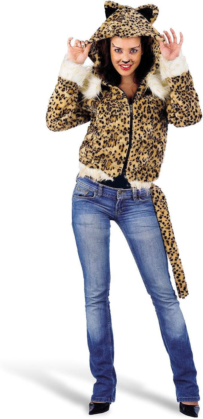 Elbenwald Leopardo Jungla Disfraz Chaqueta con capucha Orejas Cola piel suave: Amazon.es: Ropa y accesorios