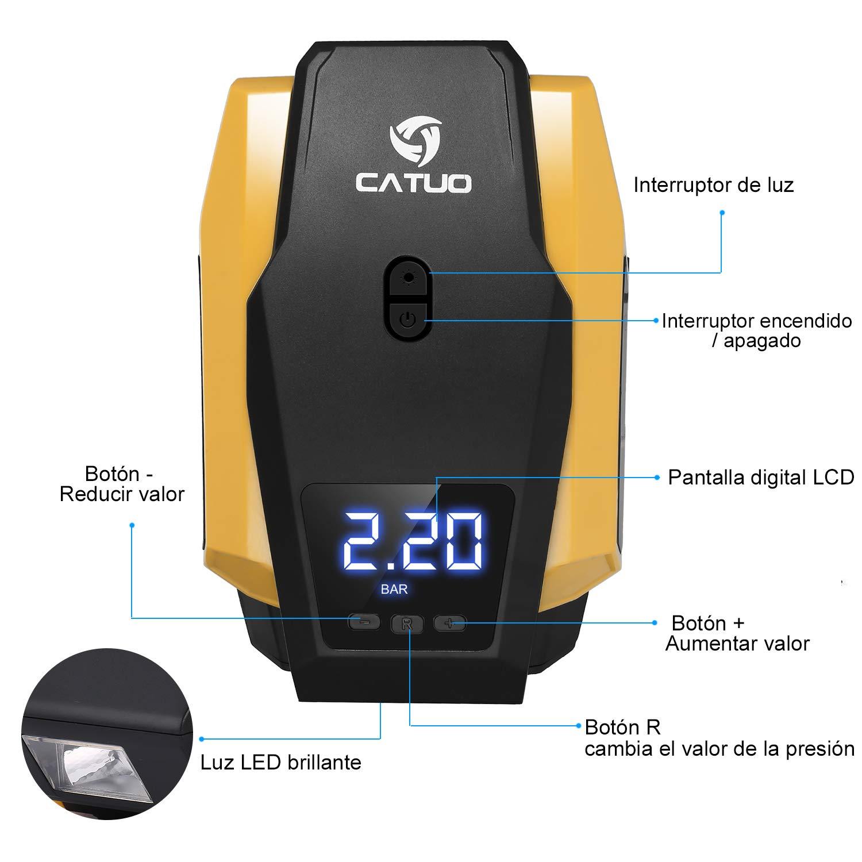 CATUO Compresor de Aire para Coche con Pantalla Digital Auto Apagado,Luz LED, 12V,150PSI, 2,8m Cable con Mechero para Vehículos, Neumáticos, Pelotas, ...