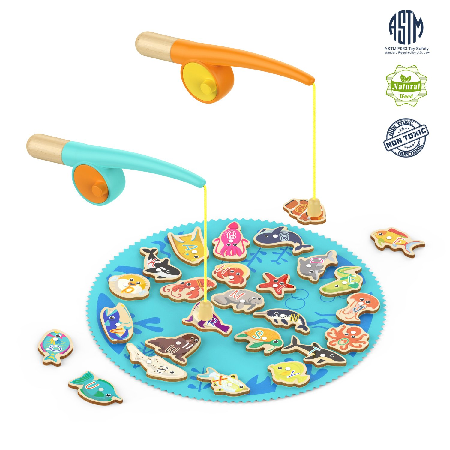 TOP BRIGHT Magnetic Wooden Fishing Game for Toddler Fish Toy for 2 3 Year Old Boy and Girl Gifts Catch and Count with 26 Ocean Animals and 2 Rods SUN TOP