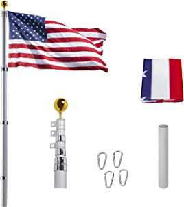 """20FT Telescoping Flag Pole Kit, Heavy Duty Aluminum 16 Gauge Tangle Free Spinning US Flagpole Kit with 3""""x5"""" USA Flag for Residential and Commercial,Garden Flag Pole"""