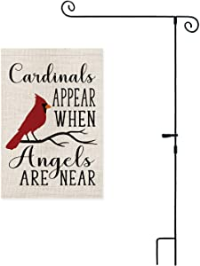 AVOIN Christmas Cardinals Appear When Angels are Near Garden Flag with Scrolled 3 Piece Construction Flag Pole, Winter Holiday Party Yard Outdoor Decoration 12.5 x 18 Inch