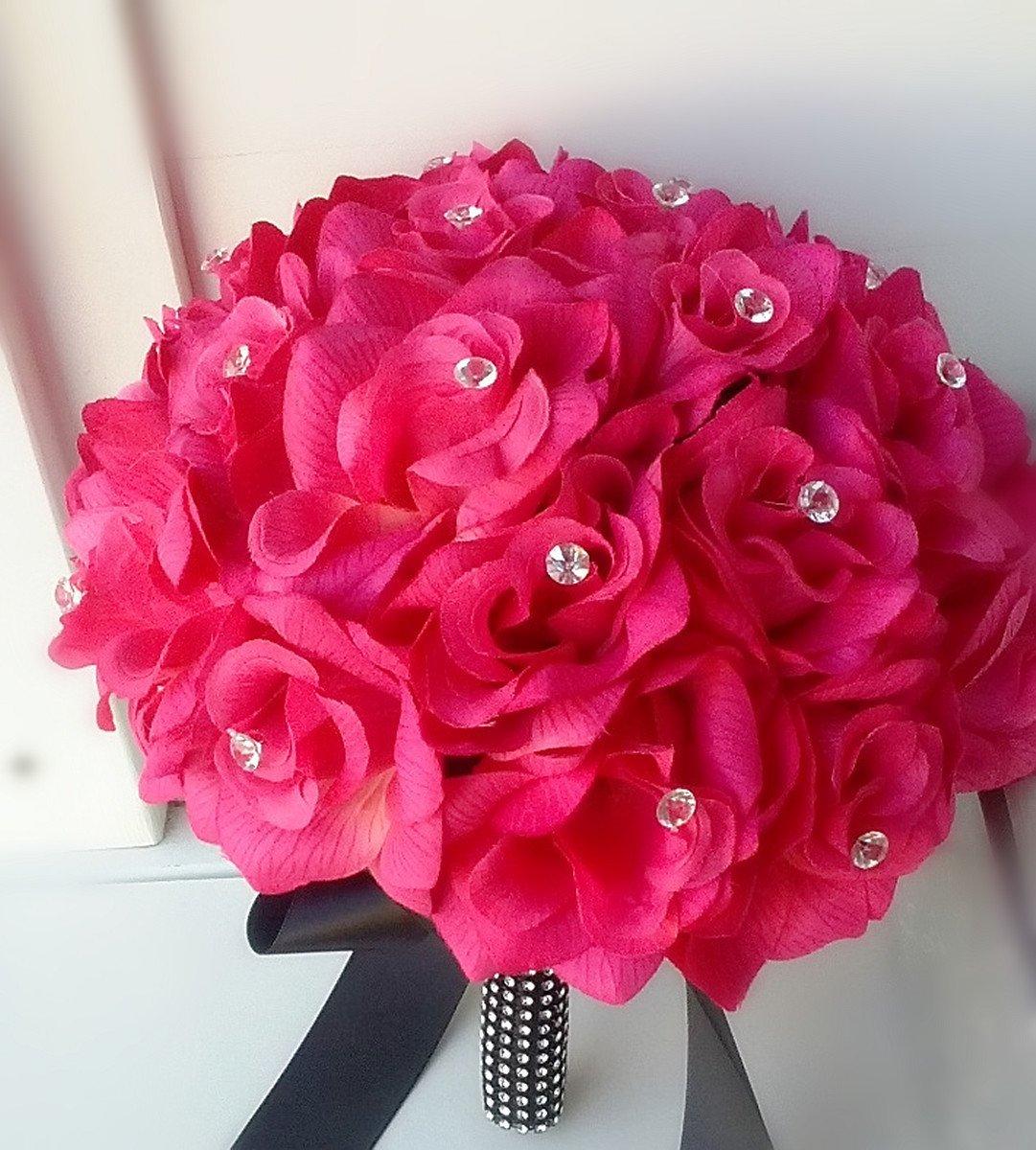 Amazon Hot Pink Rose And Black Ribbon Bridal Wedding Bouquet