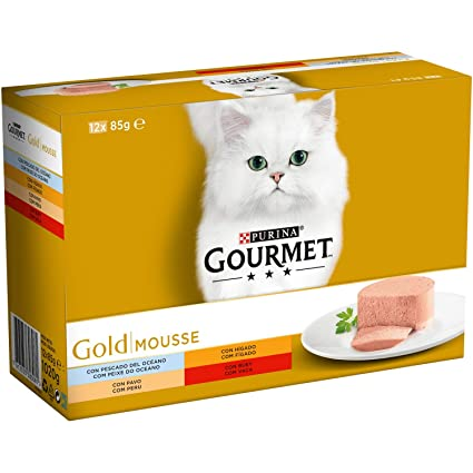 Purina Gourmet Gold Mousse comida para gato Surtido Carne y Pescado 12 x 85 g