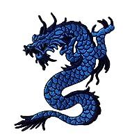 Patch brodé en forme de Dragon bleu, à coudre ou à coller avec fer à repasser