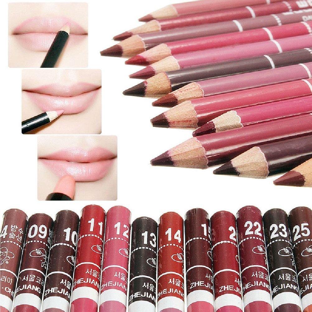 JaneDream 12 Colors Chic Women Fine Lip Liner Pencils Lipliner Waterproof Set