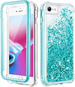 Caka iPhone SE 2020 Glitter Case, iPhone 6 6s 7 8 Glitter Case Liquid with Screen Protector Full Body Case for Girls Women Protective Cover Phone Case for iPhone SE 2020 6 6s 7 8 4.7