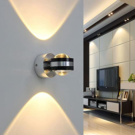 new product 568e0 e7f88 Coocnh 6W LED Wall Light Indoor Up and Down Wall Lamp Modern Design Warm  White for Corridor, Staircase, Wall, Bedroom, Living Room Lights