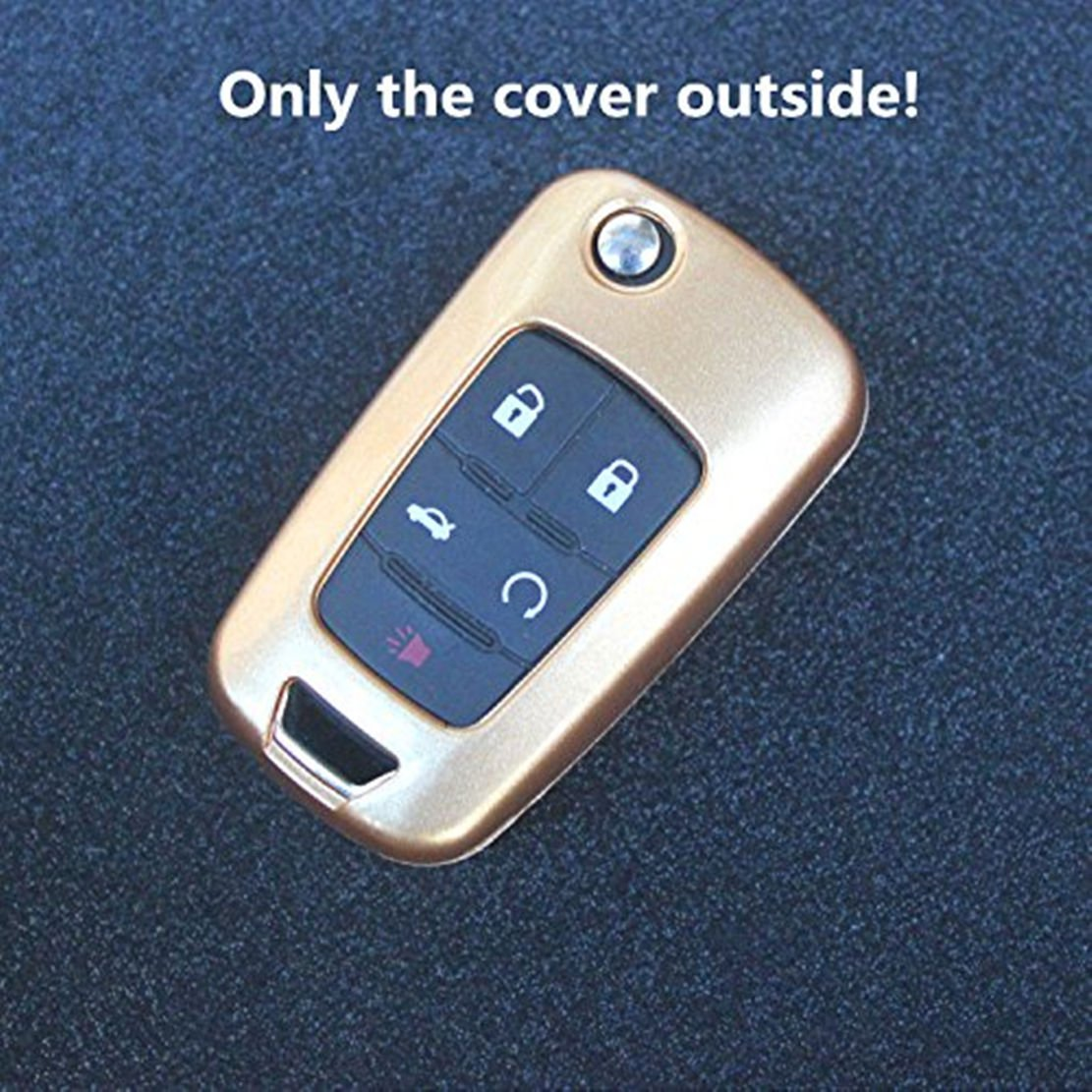 Ezzy Auto Pink Flip Paint Metallic Remote Key Fob Case Shell Cover Key Fob Skin Cover Car Key Bags Key Chains for 2010-2013 Chevrolet Buick LaCrosse