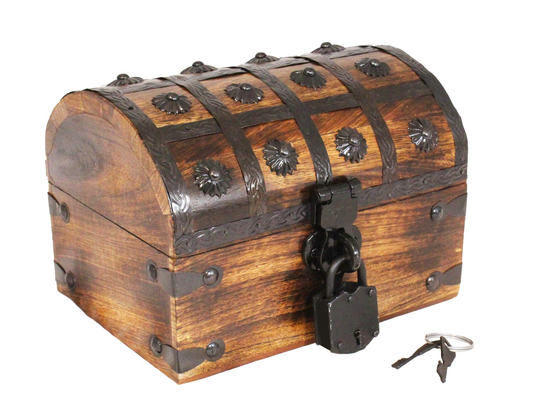 Well Pack Box Pirate Treasure Chest Wooden Iron Lock Skeleton Key Small 8 x 6 x 6 Wood Storage Decorative Keepsake Box by Well Pack Box