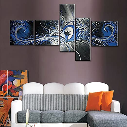 Globalartwork- Handpainted 5 Piece Black White Modern Abstract Oil Painting on Canvas Wall Art Peacock Pictures for Living Room Framed Ready to Hang Unique Gift (blue)