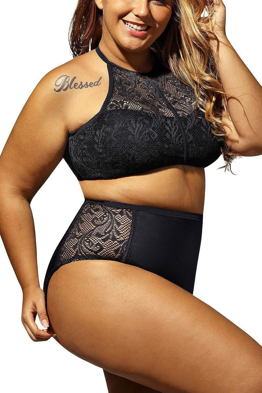 WoldGirls Women's Plus Size Swimsuit Swimwear Sheer Mesh Padded Push Up Bikini Set