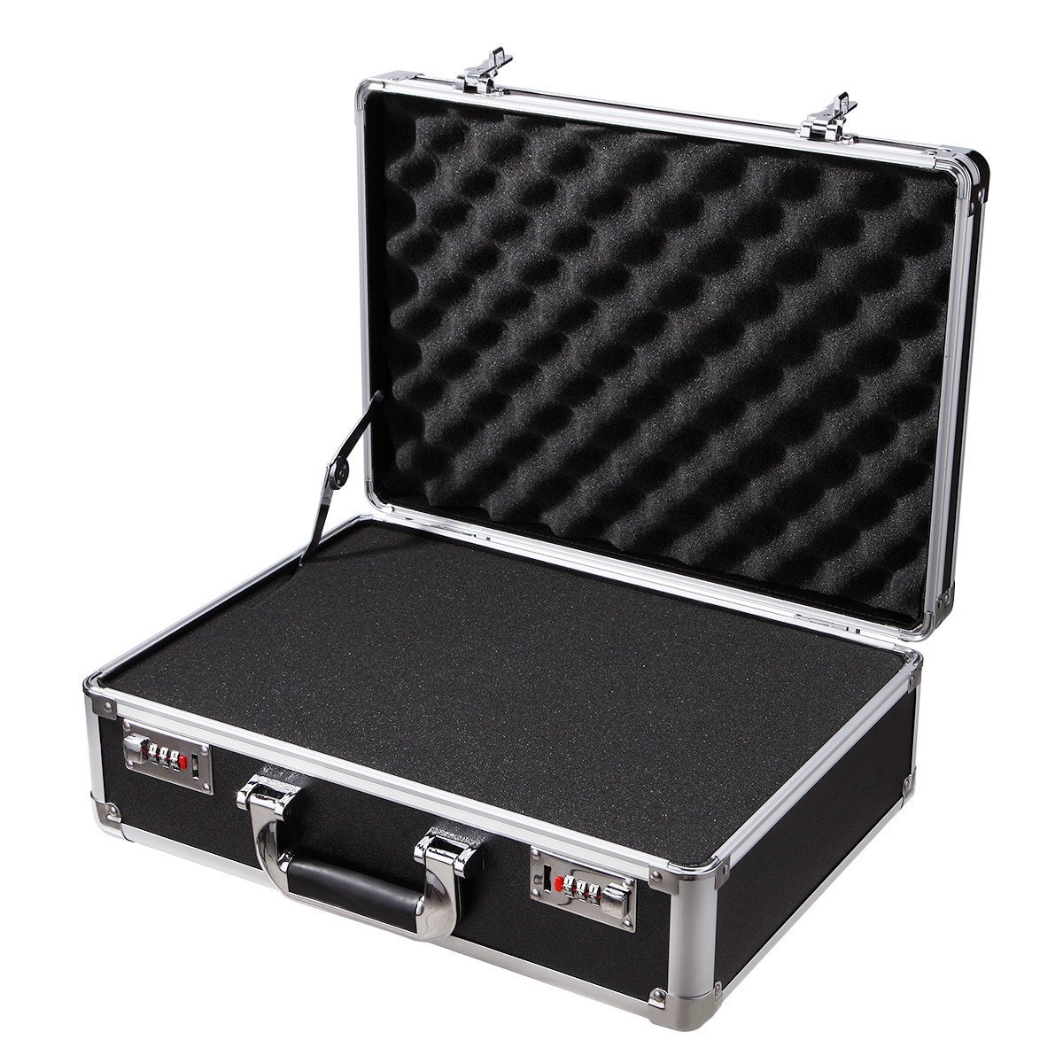 Black Aluminum Hard Case with DIY/Egg Foam Insert Drone Gun Case Camera Metal Briefcase Toolboxes