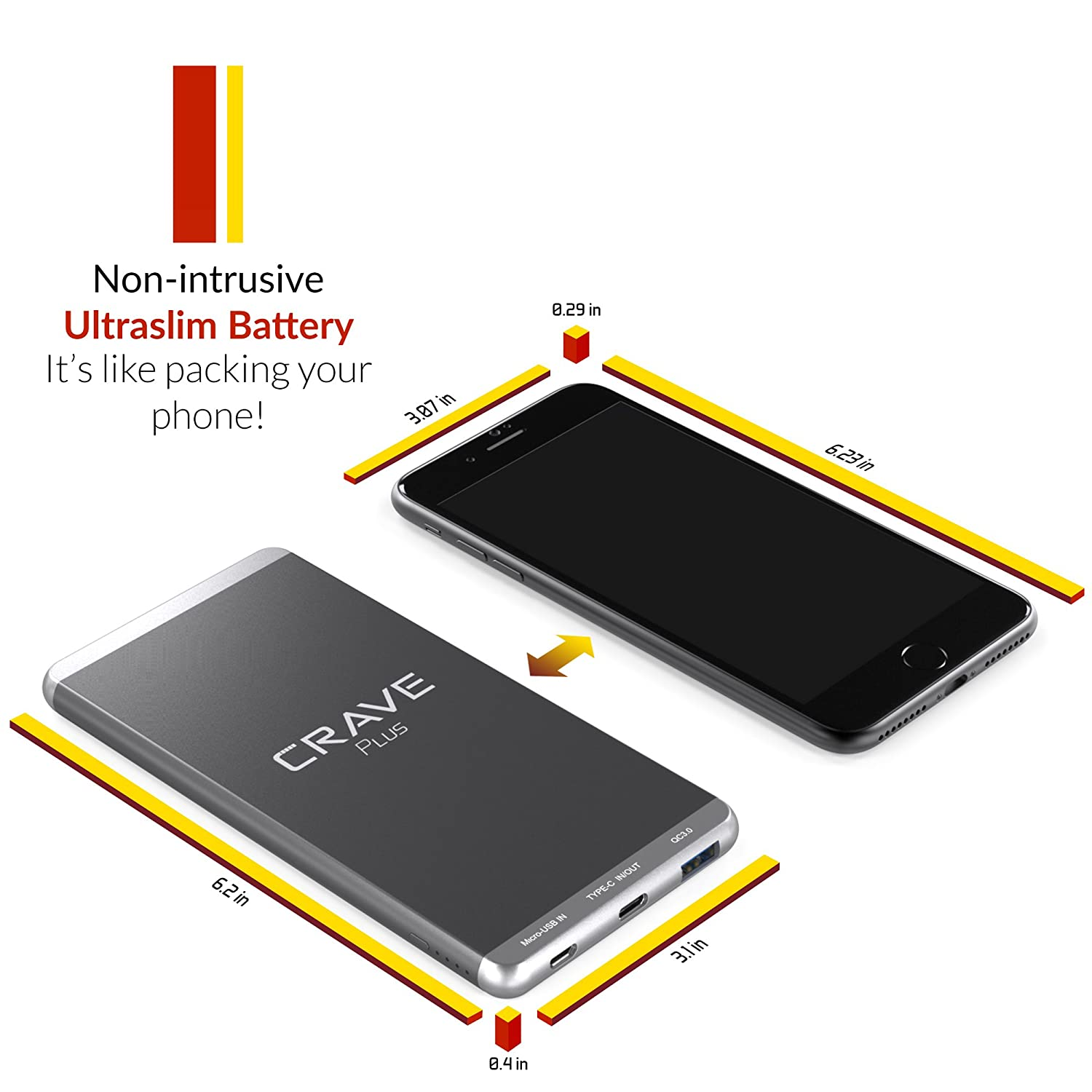 Slim Power Bank Crave Plus Aluminum Portable Charger Mobile Phone And Ipod Battery Circuit Diagram With 10000 Mah Quick Charge Qc 30 Usb Type C External Pack For Iphone Ipad