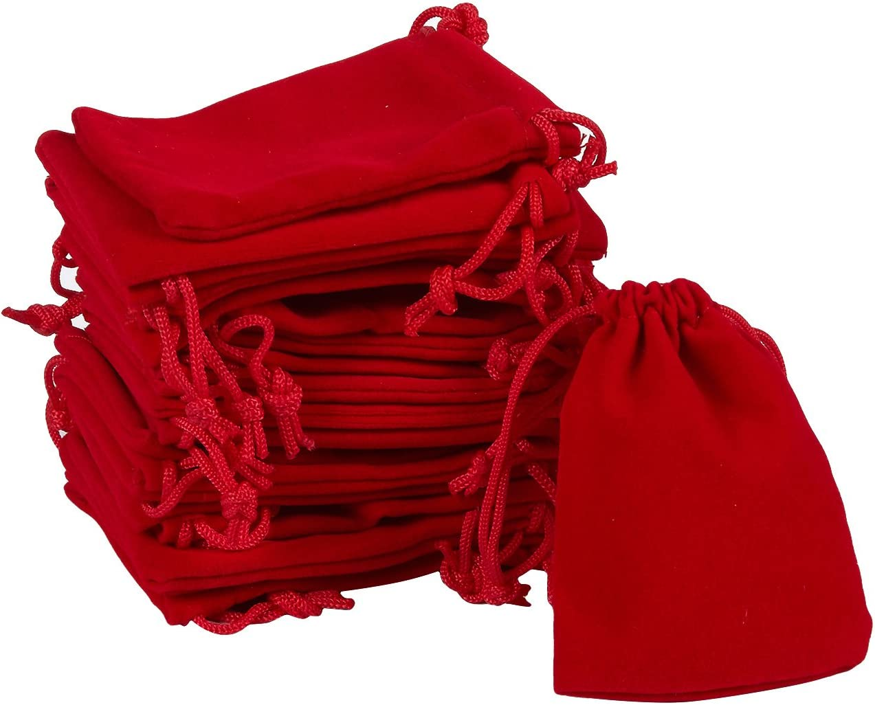 60 Pieces Wholesale Lot 4.7 X 5.9 3.5 X 4.7 Mixed Size Red Velvet Cloth Jewelry Gift Pouches // Drawstring Bags 3 X 4