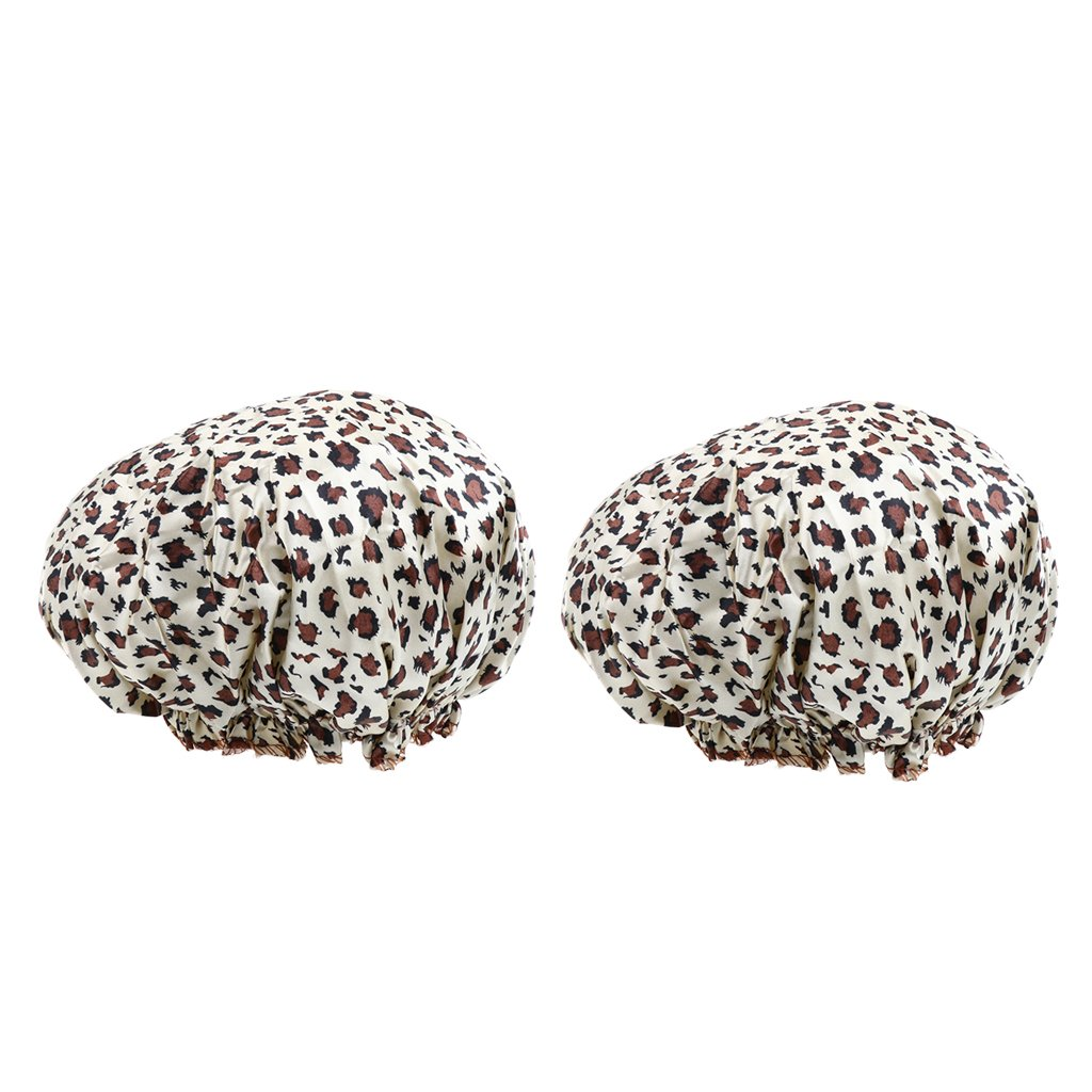 Homyl 2pcs Double Layers Waterproof Bath Caps Elastic Reusable Salon Spa Shower Hats for Women Ladies - C, as described
