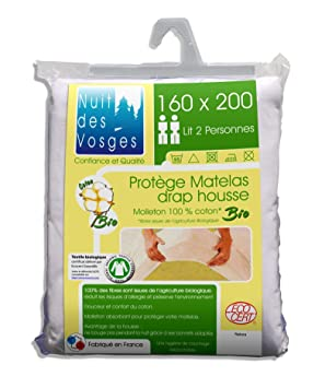 Nuit des Vosges Bio Protector de colchón 160x200 - Totalmente orgánico - Anti alergias