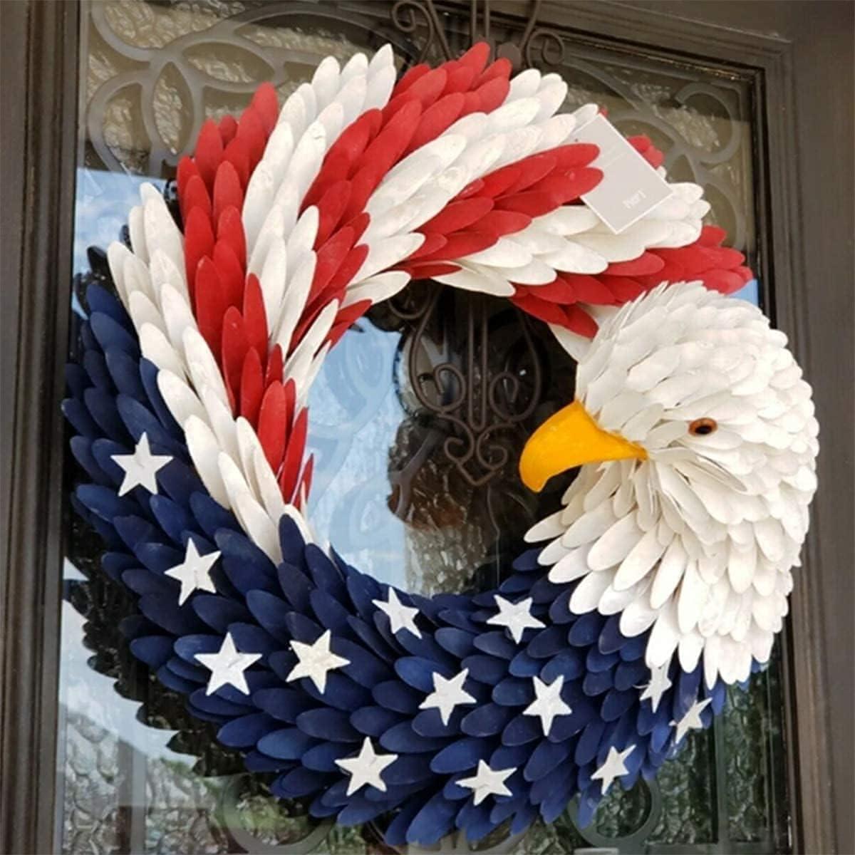 American Eagle Wreath, Americana Patriotic Wreath USA July 4th Wreath, Glory Patriotic American Flag Wreath for Front Door Window Wall Decoration (15