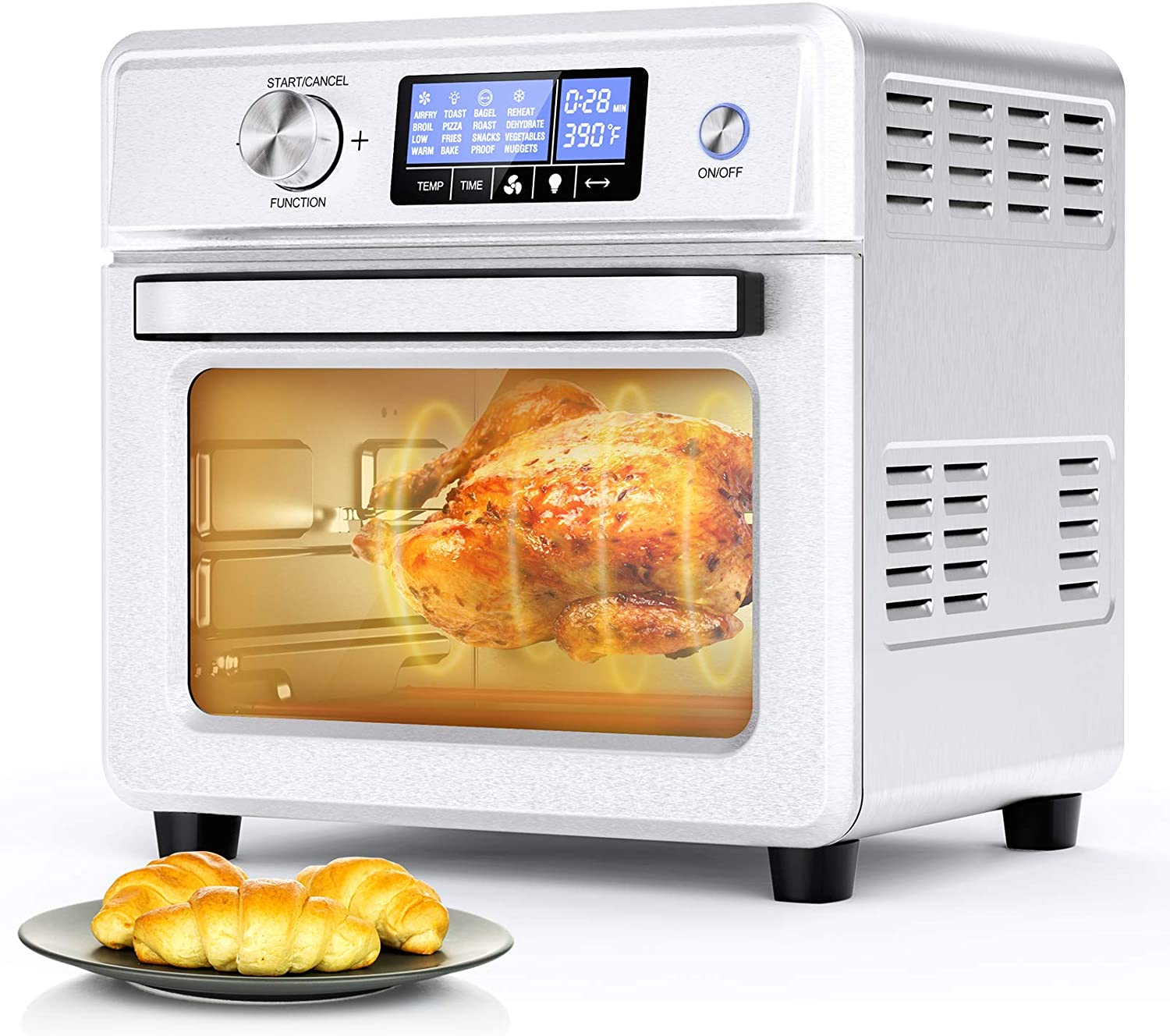 ICETEK Convection Oven Countertop, 16-in-1 Toaster Oven Airfryer Combo, 21QT 1800W Stainless Steel Oven with Temperature Control, Thawing, Defrost, Dehydrate, 9 Accessories