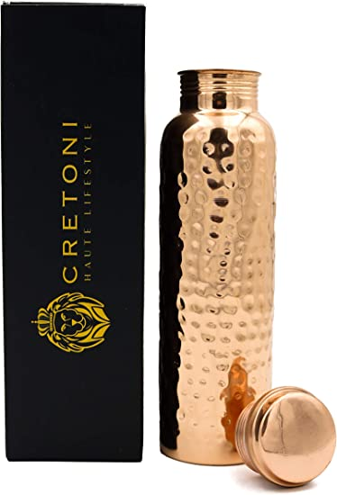 CRETONI Copperlin Pure Copper Water Bottle : Glossy Hammered Seemless Leak Proof Design : Perfect Ayurvedic Copper Vessel for Sports, Fitness, Yoga, ...