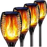 4PCs Solar Torch Lights Outdoor, 43 inch 96 LED, Waterproof Landscape Garden Pathway Light with Vivid Dancing Flickering Flam