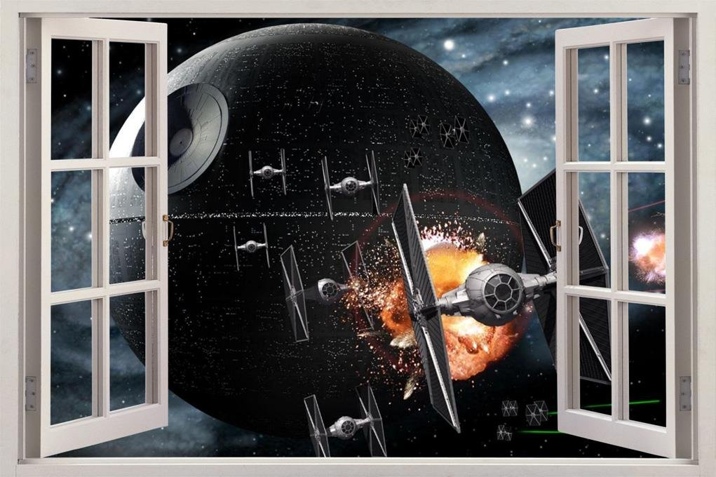 Amazon.com: Star Wars DEATH STAR 3D Window View Decal WALL STICKER Home  Decor Art Mural C647, Giant: Home U0026 Kitchen Part 26