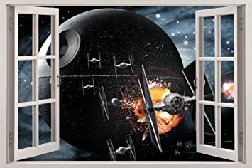 Amazon Com Star Wars Death Star 3d Window View Decal Wall Sticker