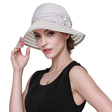 0478f3e1ae5 LAI MENG Womens UPF50+ Summer Sunhat Patchwork Straw Hat Wide Brim Hats  Bowknot Sun Hat Beach