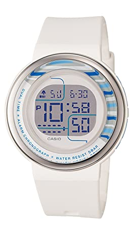 Casio Womens LDF30-7B Digital White Round Resin Strap Watch