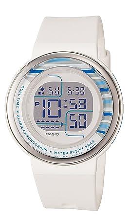 Casio Womens LDF30-7B Digital White Round Resin Strap Watch