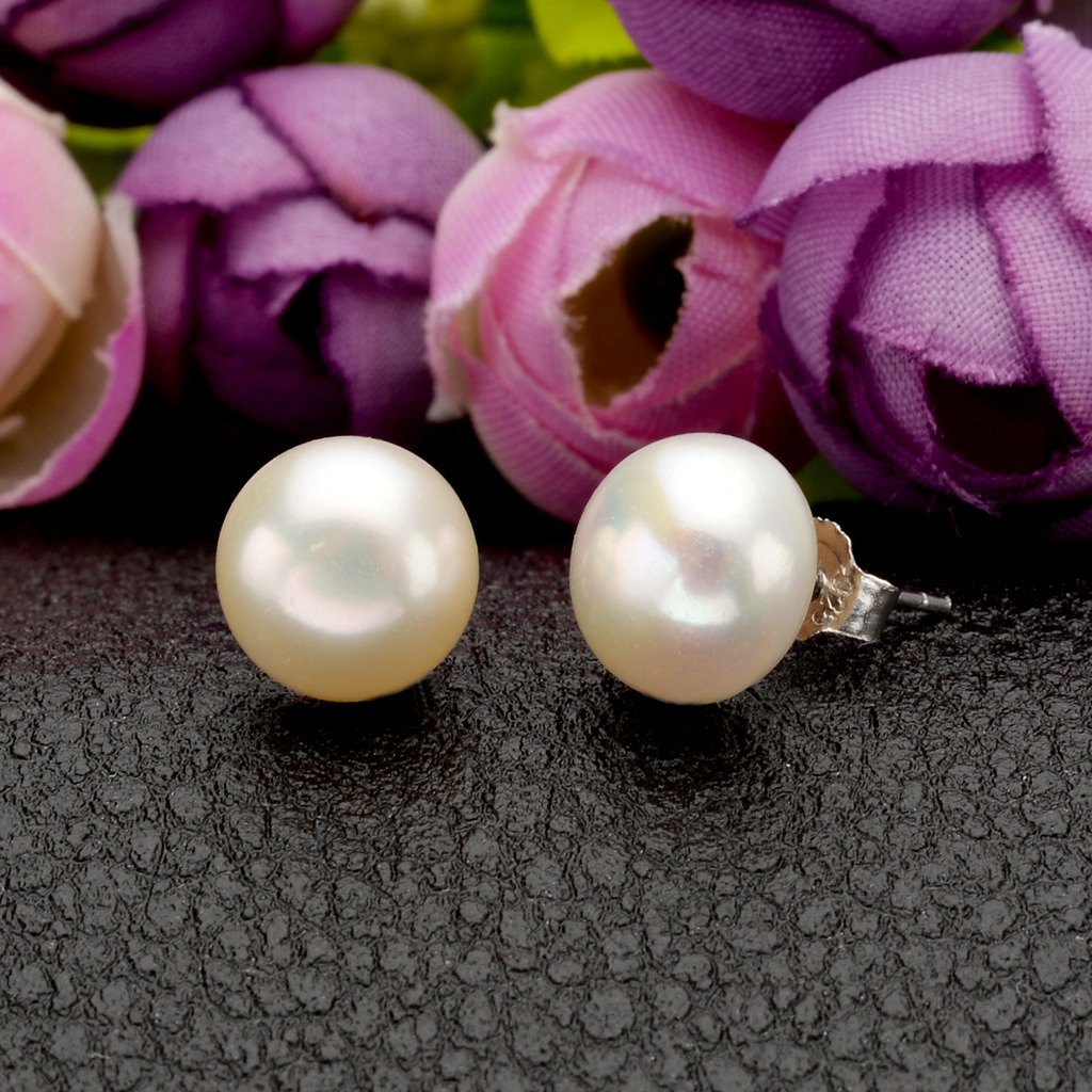 EVER FAITH 925 Sterling Silver CZ 9MM AAA Freshwater Cultured Pearl Elegant Drop Ear Jacket Earrings by EVER FAITH (Image #6)