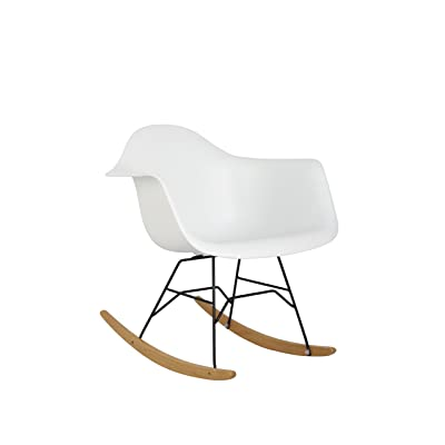 HODEDAH IMPORT Hodedah Mid Century Modern, Molded Rocking Bucket Chair, White