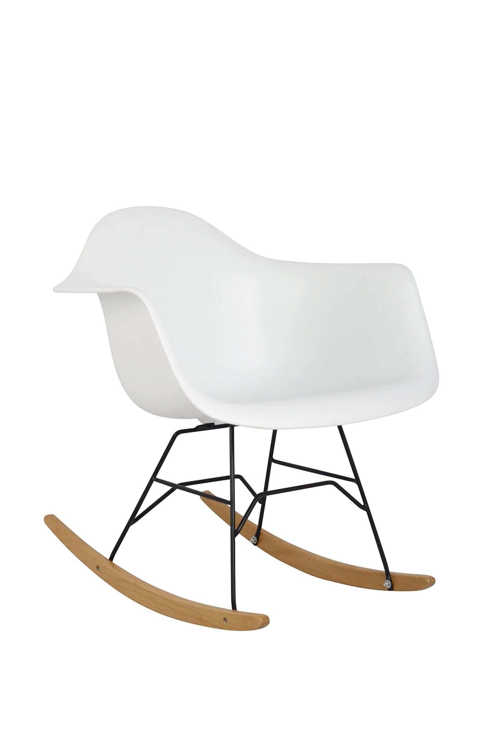 HODEDAH IMPORT Hodedah Mid Century Modern, Molded Rocking Bucket Chair, White