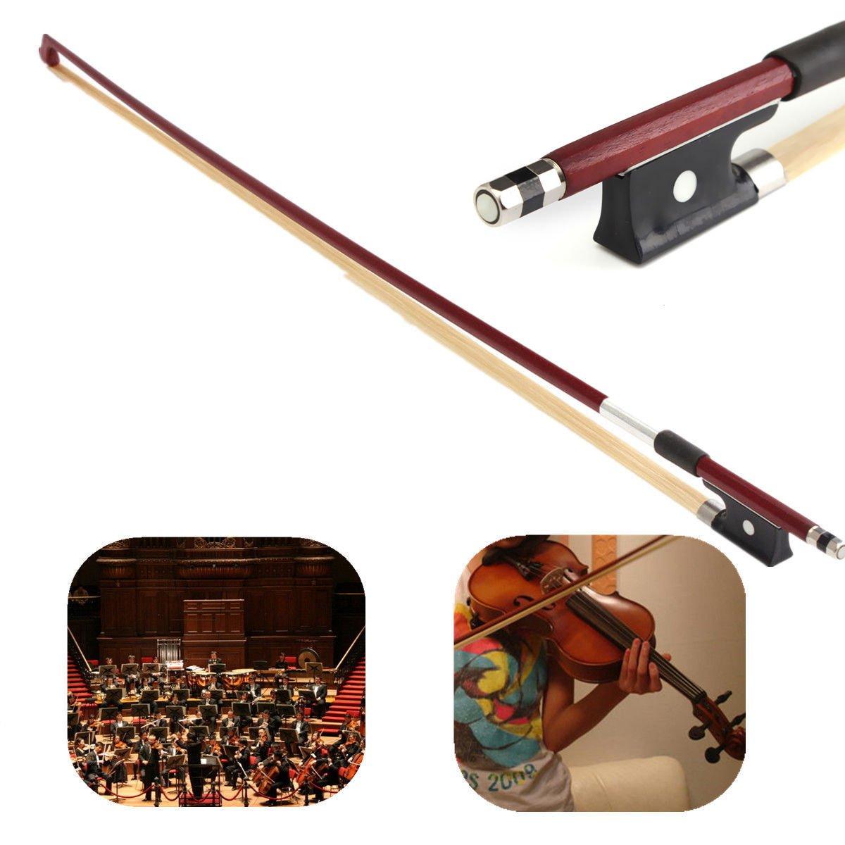 Professional Violin Bow Well Balanced Brazil Wood Ebony Frog Violin Arbor Horsehair Bow 4/4 / 3/4 / 1/2 1/4 /1/8 (1/2) Unihoom 1/2 violin bow
