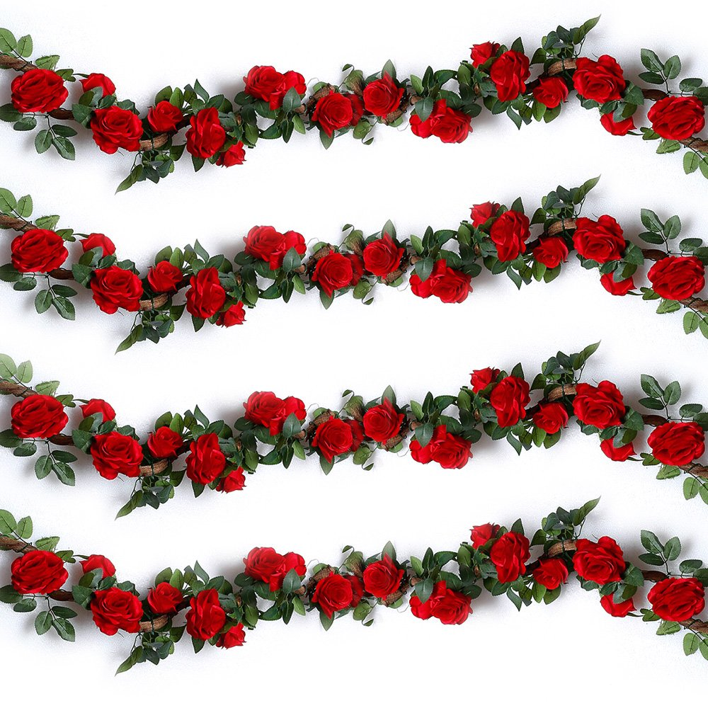 YILIYAJIA 4PCS(28.8 FT) Artificial Rose Vines Fake Silk Flowers Rose Garlands Hanging Rose Ivy Plants for Wedding Home Office Arch Arrangement Decoration (red)