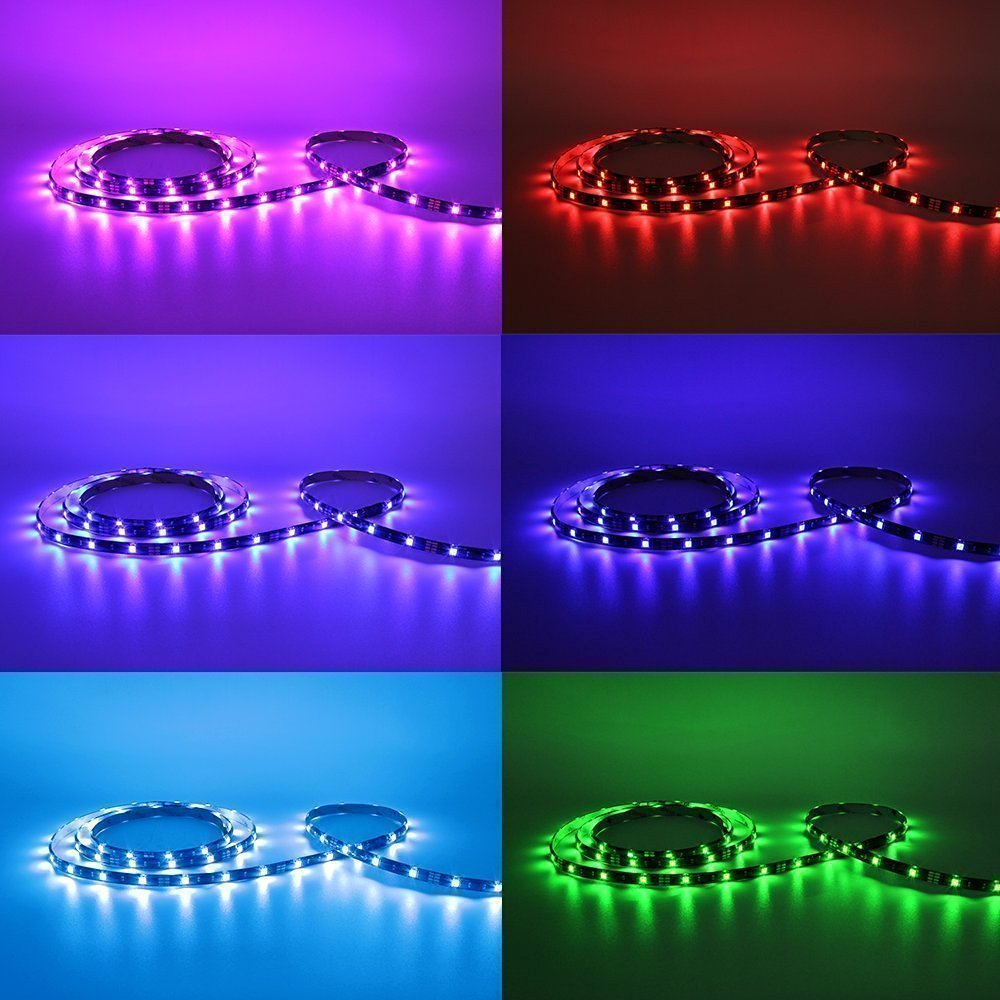 AveyLum USB Tira de Luces LED RGB 4x 50cm TV Equipo de Iluminación de Fondo 5050 SMD LED Light Strip 2M con 44 llaves IR Control Remoto