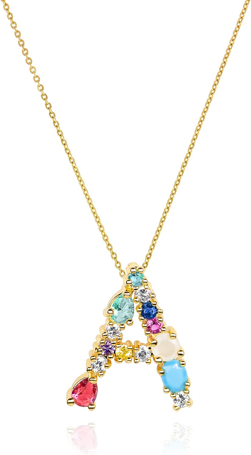 Amazon Com Lavla Initial Letter Necklace 18k Gold Plated Colorful Cubic Zirconia Crystal Pendant For Women Girls 26 Letters Alphabet Pendant A Z 16 2 A Jewelry