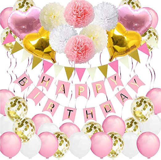 Vston Bannière Danniversaire Pour Les Filles Joyeux Anniversaire Balloons Packs De Décoration De Fête Blancs Et Roses Pour Enfants Femmes