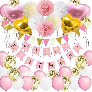 Bandera de cumpleaños para niñas, VSTON Happy Birthday Globos Rosa Fiesta Blanca Decoracion para niños Mujeres Adultos con Forma de corazón Pompones ...