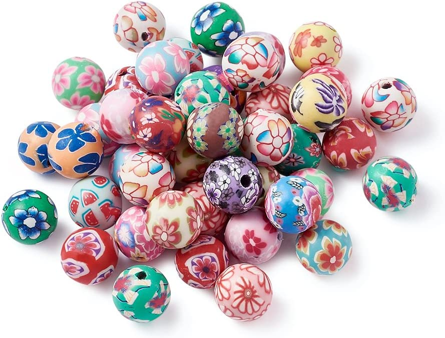 Mixed Colour about 10mm in diameter, 20 Handmade Polymer Clay Beads Round